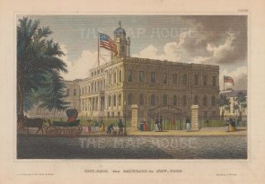 "Meyer: New York City Hall. 1850. A hand-coloured original antique steel engraving. 6"" x 4"". [USAp4674]"