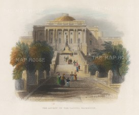 """Bartlett: The Capitol stairs, Washington, DC. 1846. A hand-coloured original antique steel engraving. 8"""" x 6"""". [USAp4859]"""