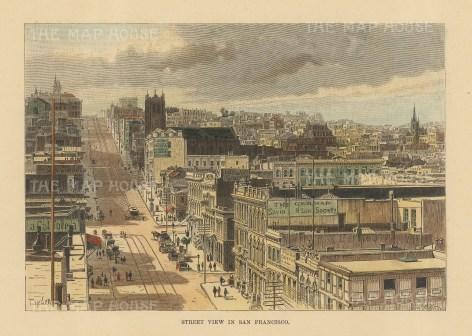 "Reclus: San Francisco. 1894. A hand coloured original antique wood engraving. 8"" x 6"". [USAp4870]"