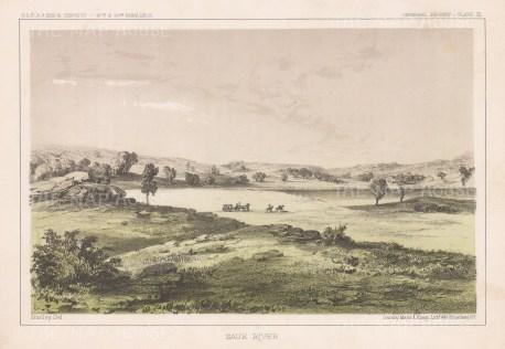 "U.S.P.R.R. Exp.: Sauk River, Washington State. 1857. An original colour antique lithograph. 10"" x 7"". [USAp4904]"