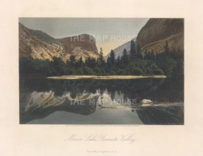 """Picturesque America: Yosemite Valley. 1874. A hand coloured original antique steel engraving. 8"""" x 5"""". [USAp4986]"""