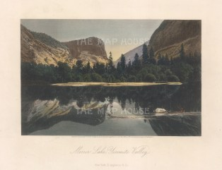 "Picturesque America: Yosemite Valley. 1874. A hand coloured original antique steel engraving. 8"" x 5"". [USAp4986]"