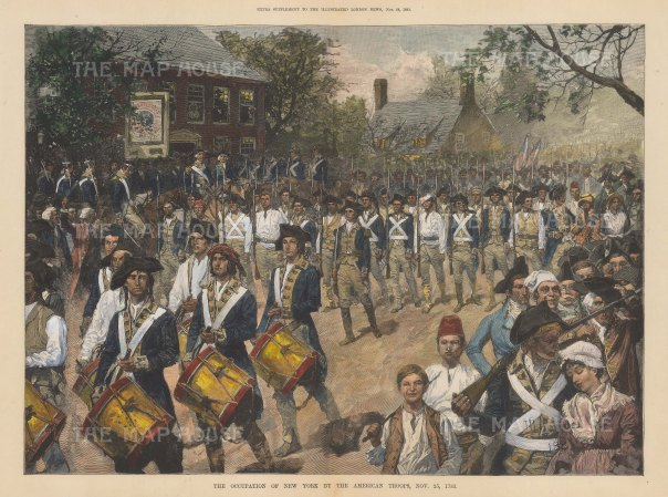 American Revolution: American troops entering the city on 25 Nov 1783.