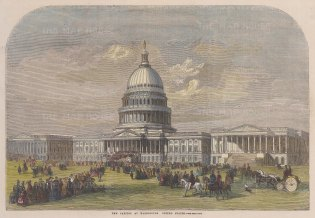 "Illustrated London News: The Capitol, Washington D.C. 1859. A hand coloured original antique wood engraving. 13"" x 9"". [USAp5009]"
