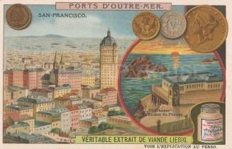 """Liebig: San Francisco. c1890. An original antique chromolithograph. 4"""" x 3"""". [USAp5032]"""
