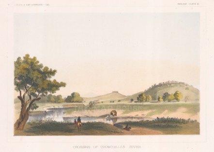"U.S.P.R.R. Exp.: Cowchillas River. 1857. A hand coloured original antique lithograph. 10"" x 7"". [USAp5037]"