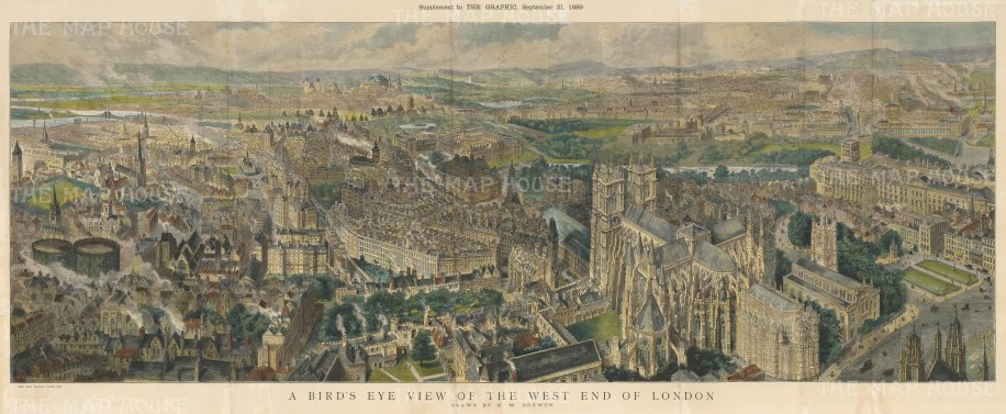 Bird's Eye View of the West End: From Westminster and St Margaret's looking over Whitehall, Victoria and Hyde Park towards the Royal Albert Hall, Kensington, and Notting Hill.