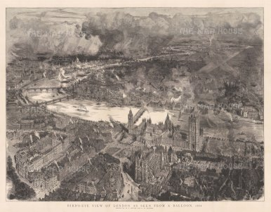 Spectacular bird's eye view from a balloon at the height of the Victorian Era. After the architectural artist William Brewer.[