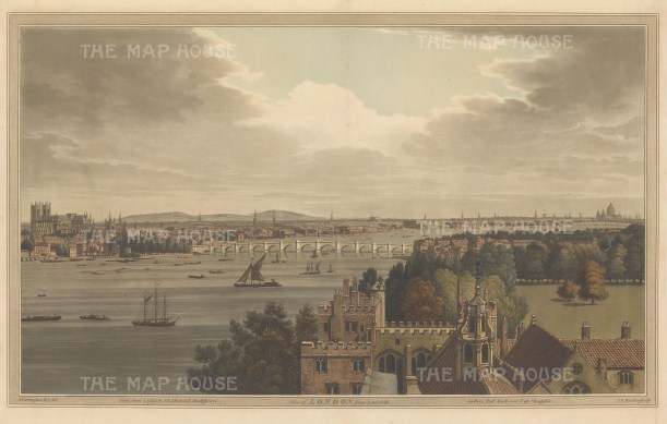 London from Lambeth: Panoramic view from Westminster Abbey to St. Paul's from Lambeth Palace