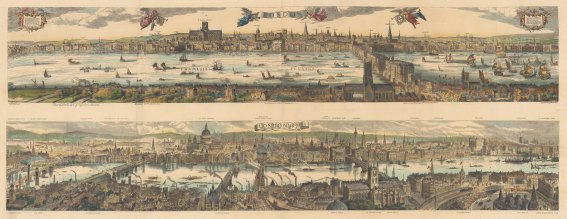 Double Panorama looking North: Claes Visscher's 1616 panorama compared to London in1890. With detailed key to landmarks.