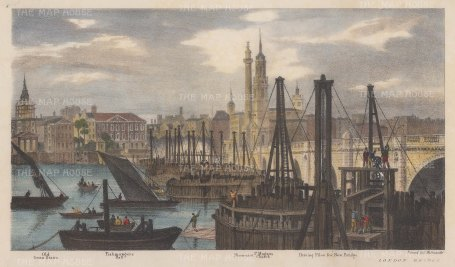 Thames View: London Bridge: Driving in new piles. Illustration by Thomas Mann Baynes for Trench's proposed changes to the Embankment.