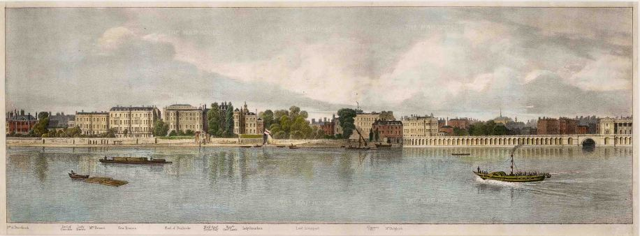 Thames View: From the residence of the Duchess of Buccleuch to Mr Dagliesh. Illustration by Thomas Mann Baynes for Trench's proposed changes to the Embankment.