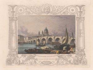"Tombleson: Blackfriars Bridge. 1845. A hand coloured original antique steel engraving. 8"" x 7"". [LDNp10004]"