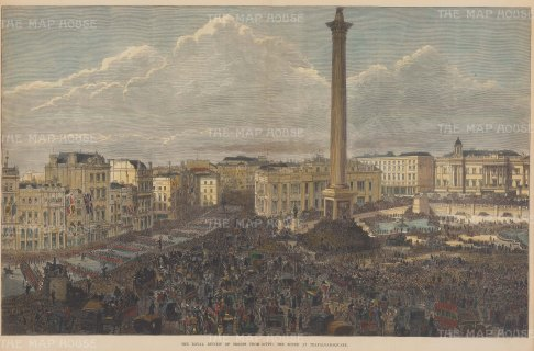 Trafalgar Square. Royal review of the Troops from Egypt. The Anglo-Egyptian War of 1882 had ended a nationalist uprising and allowed for British occupation until 1936.