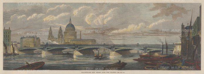 "Illustrated London News: Blackfriars Bridge. 1869. A hand coloured original antique wood engraving. 20"" x 7"". [LDNp10313]"