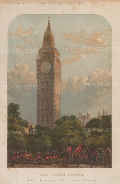 (Elizabeth Tower). View of the new clock tower and Houses of Parliament following the fire of 1834.