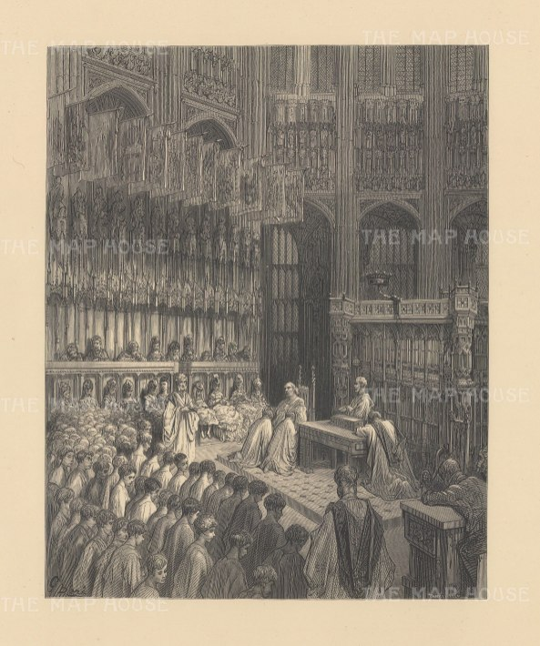 Confirmation of Westminster Boys. From the famous French artist's four year pilgrimage through London.