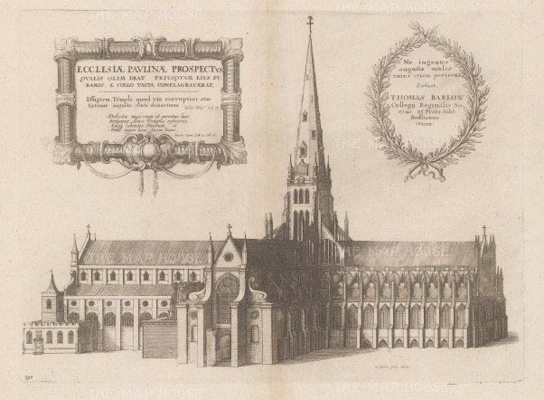 View from from the south with the spire destroyed in the Great Fire. Second state Dugdale's Monasticon Anglicanum, vol. III.