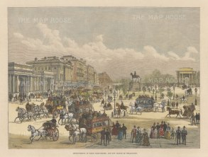 "Illustrated London News: Hyde Park Corner. 1888. A hand coloured original antique wood engraving. 14"" x 9"". [LDNp10708]"