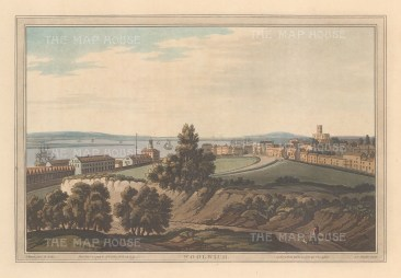 Woolwich. View towards the town with St Mary Magdalene on the right, and the King's yard and Clockhouse on the left. After Joseph Farington.
