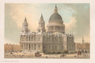"""Nelson: St Paul's Cathedral. 1889. An original antique chromolithograph. 5"""" x 4"""". [LDNp10728]"""