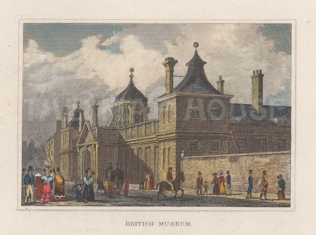 "Dugdale: British Museum. 1829. A hand coloured original antique steel engraving. 4"" x 3"". [LDNp10756]"