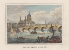 "Dugdale: Blackfriars Bridge. 1829. A hand coloured original antique steel engraving. 4"" x 3"". [LDNp10759]"