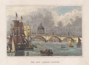 "Dugdale: London Bridge. 1829. A hand coloured original antique steel engraving. 4"" x 3"". [LDNp10761]"