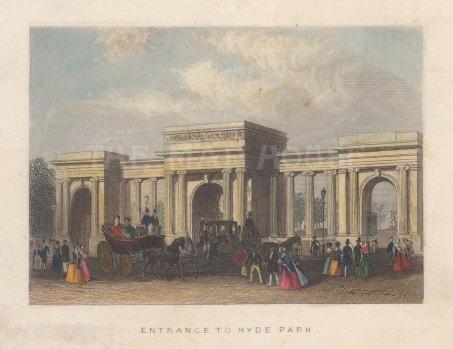 "Tallis: Hyde Park. 1851. A hand coloured original antique steel engraving. 4"" x 3"". [LDNp10765]"