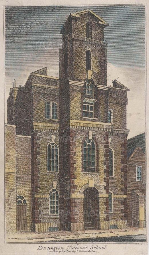 "Faulkner: Kensington National Society School. 1820. A hand coloured original antique steel engraving. 4"" x 6"". [LDNp10772]"