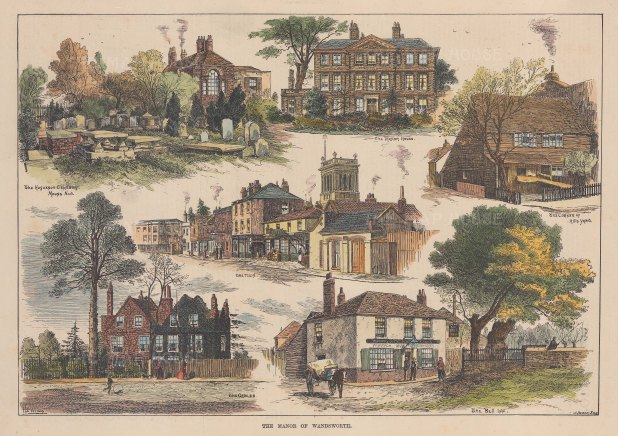 """ISDN: Wandsworth. 1889. A hand coloured original antique wood engraving. 13"""" x 9"""". [LDNp10787]"""