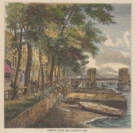 "Old & New: Cheyne Walk, Chelsea. c1880. A hand coloured original antique wood engraving. 6"" x 6"". [LDNp10795]"