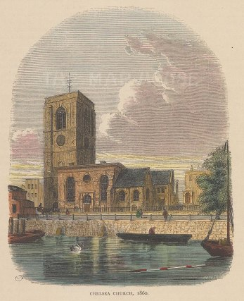 Chelsea. Old Church Street. View of All Saints Church in 1860.