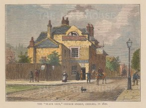 Chelsea. Old Church Street. View of the Black Lion (The Chelsea Pig).
