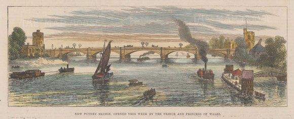 "Illustrated London News: Putney Bridge. 1886. A hand coloured original antique wood engraving. 9"" x 3"". [LDNp10804]"