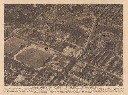 Marylebone. Bird's Eye view over Lord's, Baker Street and Regent's Park.