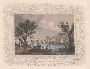 "Tombleson: Vauxhall Bridge. c1845. A hand coloured original antique steel engraving. 8"" x 7"". [LDNp10828]"