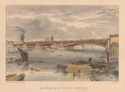 "Cassell: Blackfriars Bridge. c1883. A hand coloured original antique lithograph. 8"" x 5"". [LDNp10839]"