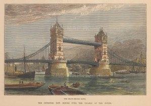 "Illustrated London News: Tower Bridge. 1885. A hand coloured original antique wood engraving. 9"" x 6"". [LDNp10853]"