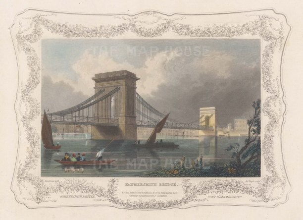 "Tombleson: Hammersmith Bridge. 1845. A hand coloured original antique steel engraving. 8"" x 6"". [LDNp10857]"