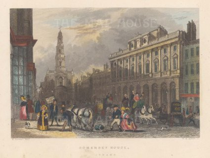Somerset House. View on Charing Cross towards St Martin's Church.