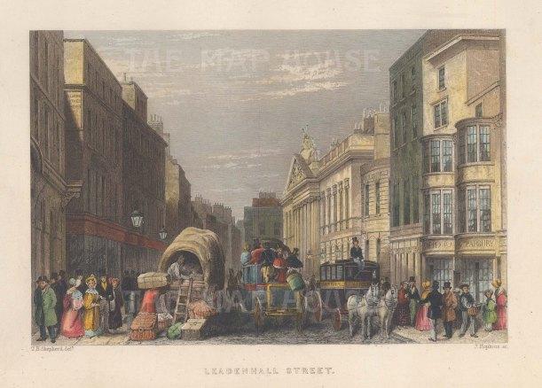 "Fearnside: Leadenhall Street. 1838. A hand coloured original antique steel engraving. 6"" x 4"". [LDNp10863]"