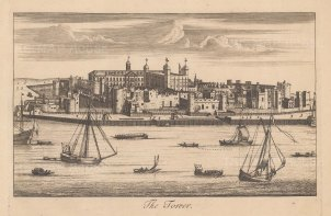 """Stow: Tower of London. c1750. An original antique copper engraving. 9"""" x 6"""". [LDNp10874]"""