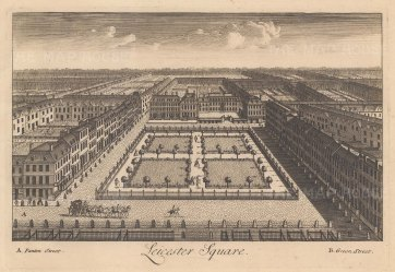 """Stow: Leicester Square. c1750. An original antique copper engraving. 9"""" x 6"""". [LDNp10876]"""