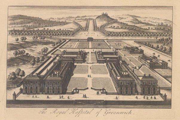 "Stow: Greenwich Hospital. c1750. An original antique copper engraving. 9"" x 6"". [LDNp10882]"