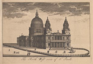 """Stow: St Paul's Cathedral. c1750. An original antique copper engraving. 9"""" x 6"""". [LDNp10883]"""
