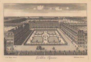 "Stow: Golden Square. c1750. An original antique copper engraving. 9"" x 6"". [LDNp10884]"
