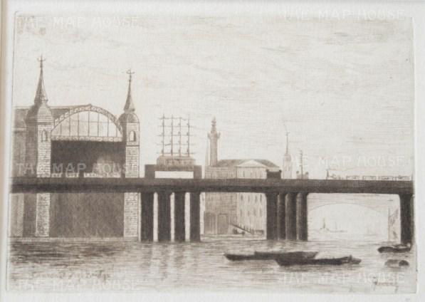 "Herring: Cannon Street Railway Bridge. 1884. An original antique etching. 5"" x 4"". [LDNp9221]"