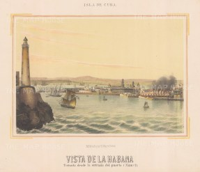 Havana: View of the entrance to the port with the Castillo del Morro lighthouse.