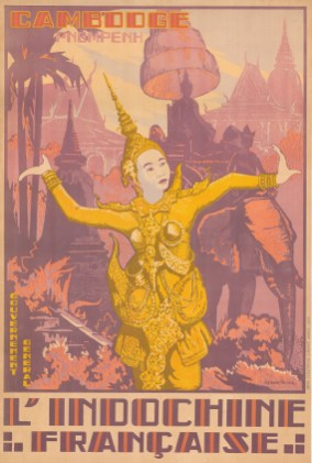 Cambodia. Vintage travel poster published by the Office de Tourisme Indochinois to promote tourism to Cambodia. Printed in Hanoi by D'Extreme Orient.